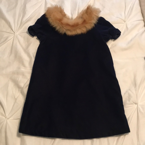 3d8649189 Janie and jack navy velvet dress with fur collar
